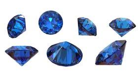 Piedra preciosa azul redonda en el fondo blanco fotografía de archivo libre de regalías