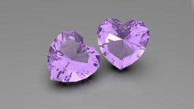 Piedra preciosa en forma de corazón, representación 3d stock de ilustración