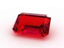 Piedra preciosa grande del rubí del corte de la esmeralda Fotos de archivo libres de regalías