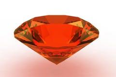 Piedra preciosa redonda anaranjada del zafiro Imágenes de archivo libres de regalías