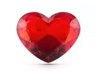 Piedra preciosa roja del corazón Imagenes de archivo