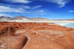 Piedra roja en el desierto de Atacama, Chile Fotografía de archivo libre de regalías