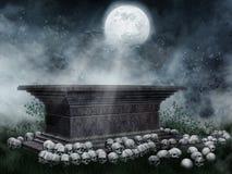 Piedra sepulcral con los cráneos en un prado Imágenes de archivo libres de regalías