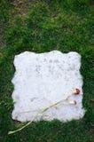 Piedra sepulcral en blanco con la flor Fotografía de archivo libre de regalías