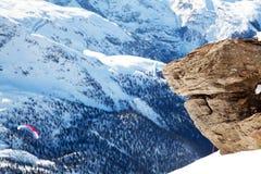 Piedra sola en el pico de Matterhorn Imagen de archivo