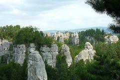 Piedras areniscas en Bohemia septentrional Imagen de archivo