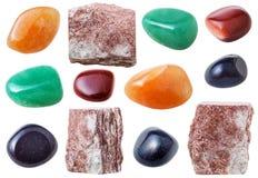 Piedras de gema de Aventurine, rocas y gemas del aventurine Imagen de archivo