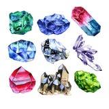 Piedras de gema de la acuarela fijadas Cristales pintados a mano aislados en el fondo blanco Elementos brillantes del diseño libre illustration