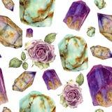 Piedras de gema de la acuarela y estampado de plores color de rosa Turquesa del jade, amatista y piedras del rauchtopaz, rosas de libre illustration