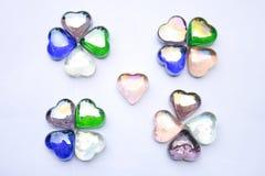 Piedras de gema en forma de corazón Foto de archivo libre de regalías