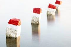 Piedras de la limitación en el río Fotografía de archivo libre de regalías