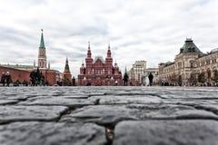 Piedras de pavimentación en Plaza Roja Fotos de archivo