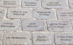 Piedras de pavimentación grabadas Foto de archivo libre de regalías