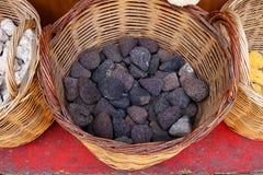 Piedras de piedra pómez negras, Grecia Imagen de archivo libre de regalías