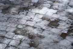 Piedras del adoquín cubiertas en hielo Imagen de archivo libre de regalías