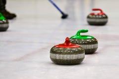 Piedras del granito para el juego que se encrespa en el hielo Fotos de archivo libres de regalías