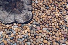 Piedras del guijarro y hormigón sellado en el piso Foto de archivo