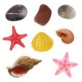 Piedras del mar, cáscaras del mar, estrellas de mar stock de ilustración