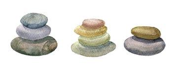 Piedras del mar de la acuarela ilustración del vector