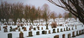 Piedras del panorama del cementerio en paisaje del invierno de la nieve Fotos de archivo libres de regalías
