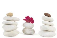 Piedras del zen con la flor roja Imagenes de archivo