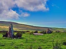 Piedras derechas de la edad de bronce en Morva Imagenes de archivo