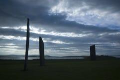 Piedras derechas de Stennes, Orkney, Escocia Fotografía de archivo