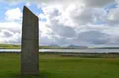 Piedras derechas de Stenness, megalitos neolíticos en la isla del continente las Orcadas, Escocia Imagen de archivo libre de regalías