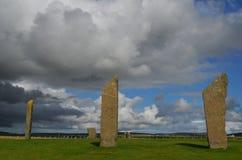 Piedras derechas de Stenness, megalitos neolíticos en la isla del continente las Orcadas, Escocia Imágenes de archivo libres de regalías