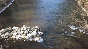 Piedras en el río con pocas ondas y vórtice foto de archivo