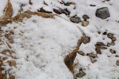 Piedras en la nieve a lo largo de una trayectoria con una pared de piedra que alinea el río Foto de archivo