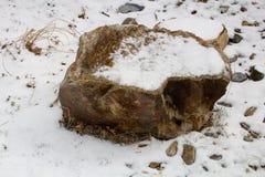 Piedras en la nieve a lo largo de una trayectoria con una pared de piedra que alinea el río Fotos de archivo