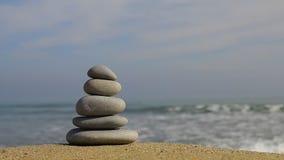 Piedras en la playa almacen de video