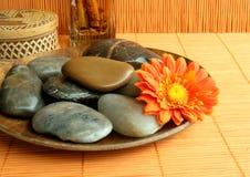 Piedras en una placa marrón Imagen de archivo libre de regalías