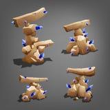 Piedras fijadas con los cristales azules stock de ilustración