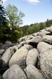Piedras grandes del granito del río de piedra en Rocky River Vitosha National Park, Bulgaria Foto de archivo