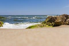 Piedras grandes en la playa con alga marina Fotos de archivo