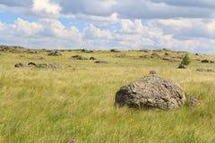 Piedras grandes que mienten en el llano del verde Foto de archivo libre de regalías