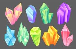 Piedras iridiscentes sistema, minerales, cristales, gemas, piedras preciosas preciosas o ejemplo semiprecioso del vector de las p libre illustration