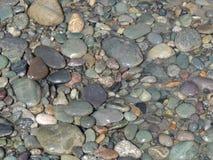 Piedras mojadas en la orilla del río Foto de archivo libre de regalías