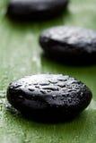 Piedras negras del balneario sobre la hoja foto de archivo