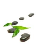 Piedras negras y hojas de bambú en blanco Imágenes de archivo libres de regalías