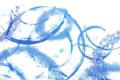 Piedras preciosas azules y heladas sobre círculos aplicados con brocha Imagenes de archivo