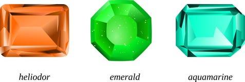 Piedras preciosas de Beryl: heliodor, esmeralda y aguamarina Fotos de archivo libres de regalías