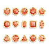 Piedras preciosas realistas determinadas en oro. Gemas coloridas - r libre illustration