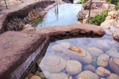 Piedras redondas grandes debajo del agua transparente de la charca en parque Imagenes de archivo