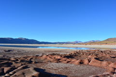 Piedras Rojas of Atacama desert, in Chile. Riedras Rojas - Red Rocks - is a famous touristical place in the desert of Atacama, Chile. There rocks were formed by Stock Image