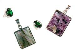 Piedras semipreciosas de plata pendientes Fotos de archivo libres de regalías