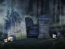 Piedras sepulcrales, cráneos y linternas Fotos de archivo libres de regalías