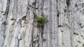 Piedras verticales peligrosas gigantes en un Hegyestu, Hungría Silueta del hombre de negocios Cowering fotografía de archivo